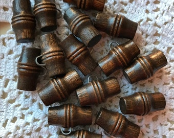 Vintage Toggle Buttons, Brown Wood Buttons, 19mm long, Metal Shank, Crafts and Jewelry Buttons, 6 in Lot, wood buutons
