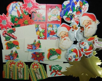 Vintage Christmas present tags & Seals 1940's variety Unused Gift wrapping supplies Santa Tree Religious poinsettias