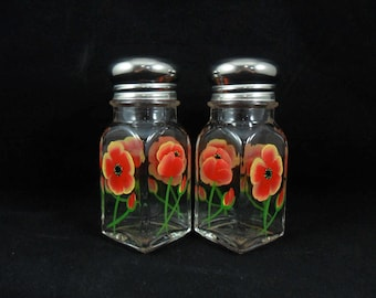 Salt Pepper Shakers Poppies Red Yellow Hand Painted Flowers