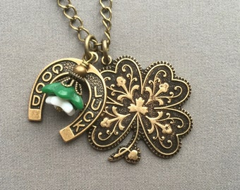 Shamrock Necklace - St Patricks Day Jewelry - Shamrock Jewelry - Four Leaf Clover Necklace - Lucky Necklace - Lucky Jewelry - Gifts for Her