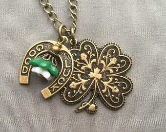 Shamrock Necklace - Shamrock Jewelry - Four Leaf Clover Necklace - Lucky Necklace - Good Luck Jewelry - Irish Jewelry - Lucky Jewelry -