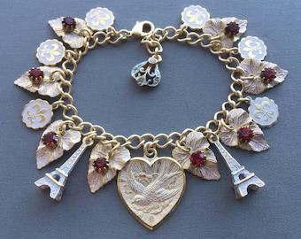 Paris Charm Bracelet - French Jewelry - Paris Jewelry - Victorian Jewelry - French Bracelet - Gifts for Her - Romantic Jewelry - France