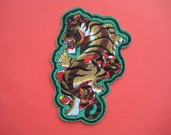 SALE~ Iron-on Embroidered Patch Tiger & Roses 5.5 inch