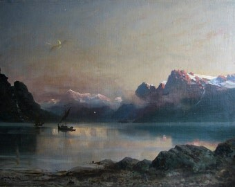 Norwegian Fjord -19th Century Painting - Frithjof Smith-Hald