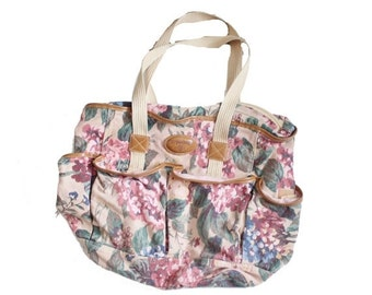 50% half off sale // Vintage 90s Carpetbags Small Floral Tote Duffel Bag - Overnight Gym