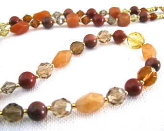 Fall Colors Aventurine, Goldstone and Red Jasper Necklace