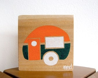Little Camper - Remnant Cedar Wood - Rustic Children's Room Art - Handpainted Original Nursery Art - Orange and Green Little Trailer