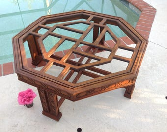 "CHINESE CHIPPEDALE FRETWORK Coffee Table /38"" x 15 3/4"" tall Octagon Coffee Table / Hollywood Regency Fretwork table at Retro Daisy Girl"