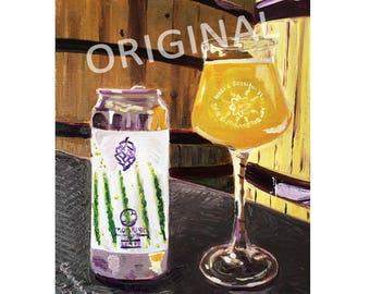 Monkish Brewing, Lines IPA, Anchorage Brewing, Hops Art, Craft Beer Gift, Gift for Beer Nerd, Groomsmen Gift, Alaska, California Beer Art