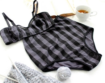 Plaid High Waist Lingerie Set 'True North' Charcoal Black Grey with Mesh Handmade to Order