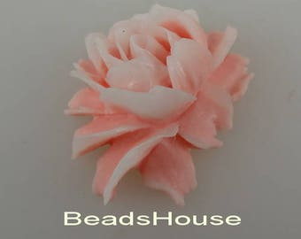 34-00-DP  2pcs Hight Quality Cabbage Rose Cabochon -Deep Pink  / White Edge