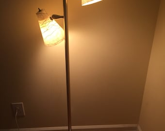 FIBERGLASS FLOOR LAMP/Mid Century Modern/Two Light Floor Lamp/Beige Fiberglass Floor Lamp at Modern Logic