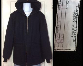 1980's USMA West Point Cadet Store Black Wool Hooded zip-up Jacket Coat size Large Talon zipper