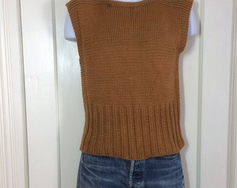1940's WWII era wool handknit work Sweater Vest looks size Small Military Army Brown American Red Cross A.R.C. arc 6.75 inch long cuff