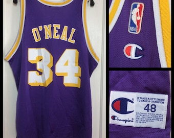 1990's Shaquille O'Neal number 34 LA Lakers NBA Basketball team purple Champion Jersey Tank size 48 XL