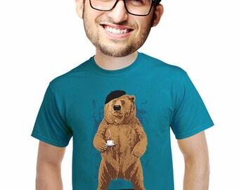 bear t-shirt, Coffee tshirt, barista tshirt, mens grizzly bear t-shirt, funny coffee gift, for coffee expresso lovers, fans of bears, s-4xl