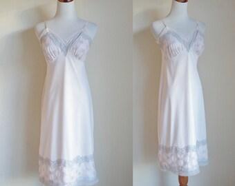 Vintage 60s Slip, Pink Lace Slip, Blue Embroidered Slip, Van Raalte Slip, Nylon Slip, 60s Lingere, Pink Negligee, Small Medium Bust 34