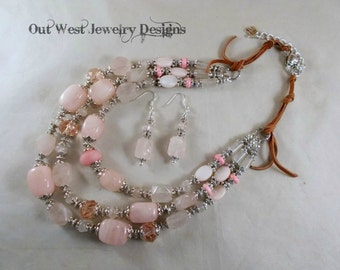 Western Cowgirl Necklace Set - Chunky Rose Quartz with Pink Shell and Crystal