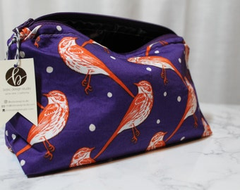 Unique Handmade Cosmetic Bag in Modern Bird Print