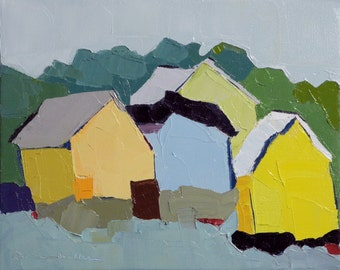 Boathouses II- Oil Painting, 8x10, On Canvas, Original Landscape Painting