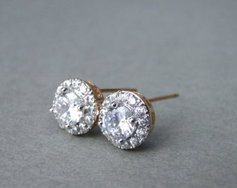 Last Pair Jewelry / White Topaz Studs / 18k Gold Filled Studs / Stunning Gemstone Studs / Topaz Earrings / Studs / Holiday Gift