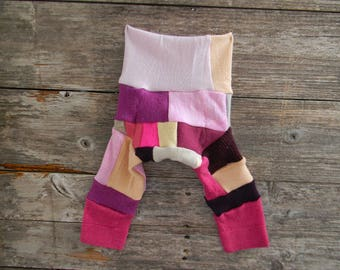 NEWBORN Upcycled Merino Wool Longies Soaker Cover Diaper Cover With Added Doubler Crazy Girly Patchwork Scrappy  NEWBORN 0-3M