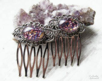 ENCHANTED FAERY .:. Set of 2 Vintage Silver Hair Combs with Amethyst Harlequin glass opals, ornate silver filigree