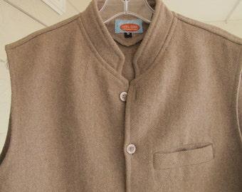 Tan Wool Vest Pakistan Button Front Minimalist Nehru Jacket Ghanwal Punjab Groom's Vest