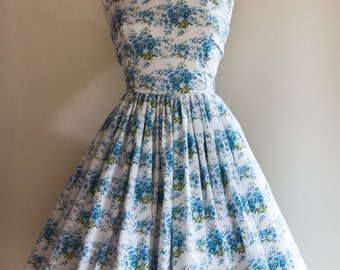 1950s Floral Stripe Dress