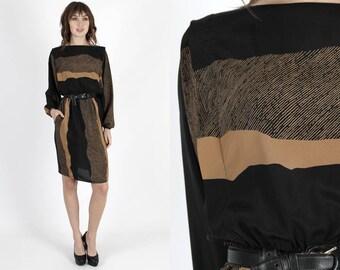 Party Dress Silk Dress Black Dress Cocktail Dress Striped Dress Vintage 80s Dress Tan Striped Draped Boho Evening Dress Mini Dress M