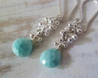 Turquoise earrings with Fine .999 silver sprouts.  Turquoise jewelry. Sagittarius gift. December birthstone. Christmas gift. Birthstone gift