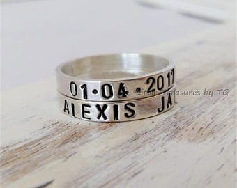 Name Stacking ring Sterling Silver Custom Name. Stacking rings.New mom. Family. Custom name. Personalized. Custom hand stamped. Mother's Day