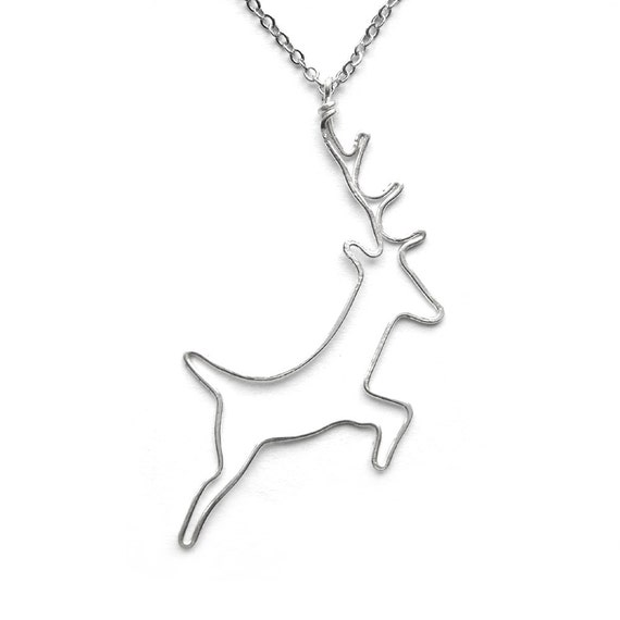 Deer Necklace - Woodland Jewelry, Silver Deer Pendant, Stag Pendant
