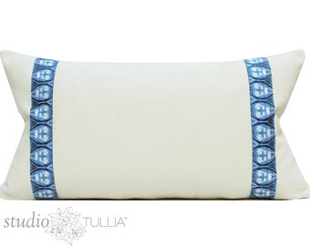 Blue and White Pillow Cover - natural cotton with ribbon banding - tulip - 14x26 - lumbar - ready to ship
