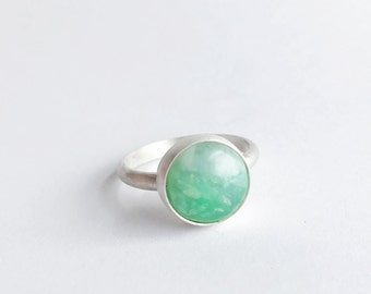 Chrysoprase Ring - Sterling Silver - Handmade Ring - Anxiety Help - Stress Reliever - By Ashley Goings - Goingsnake Silver