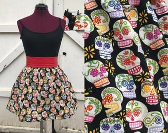 Two sizes!  Day of the Dead sugar skull skirt, dia de los muertos, black, small, medium, large