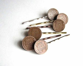 SALE lucky wheat penny hair pin set - choose your bobby pin color - copper gold silver - real vintage penny hairpins