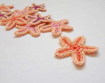 Starfish applique - crochet sea stars applique - Beach party decorations - peach pink sea stars applique - wedding decor - set of 9