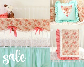 30% OFF SALE Peach and mint baby bedding set , vintage inspired mint and coral nursery bedding, bumperless baby girl crib bedding ReadyToShp