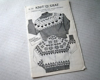 "Nordic Knit O Graf ""Adult"" Cardigan Pullover Sweater Knitting Pattern Snowflake or Hearts Skating Skiing"