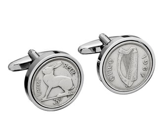 1967 Irish Gift - 50th Birthday Gift - Lucky Irish Coin Cufflinks -  Includes presentation box - 100% satisfaction - 3 day delivery option