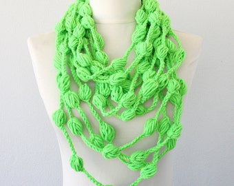 Neon green crochet necklace scarf bubble scarf crochet scarf fiber necklace christmas gift for her women accessories fall fashion