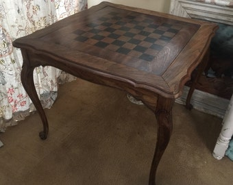 Mid Century Game Table ~ French Country ~ Cabriole Legs ~ CHECKERS!