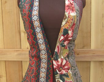 Women's Tie Vest in Red, Green, and Gold