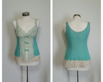 Vintage Mint Green Camisole, by Vasarette , Small, #63796