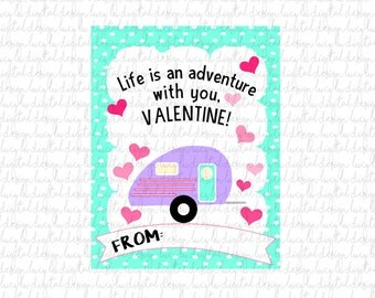 VALENTINES - CAMPER Cards - PRINTABLE Valentine Cards