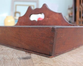 Antique Dovetailed Walnut Cutlery Box Wooden Tool Tote Tray