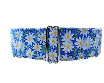 1.5 Inch Martingale Collar, Blue Martingale Collar, Blue Dog Collar, Daisy Dog Collar, Greyhound Martingale, Custom Dog Collar