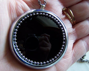 Antique Black Glass Pocket Watch Scrying Pendant