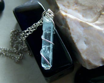 Blue Aquamarine Wire Wrapped Crystal Pendant